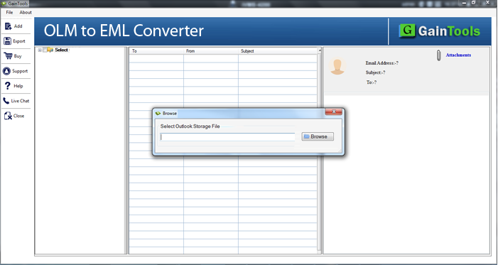 GainTools OLM to EML Converter full screenshot