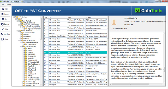 GainTools Gratuito OST a PST Convertidor full screenshot